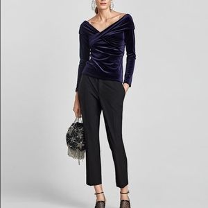 🖤 NEW Zara Blue Velvet Top with Exposed Shoulders